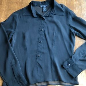 Express Black Sheer Button-Up Blouse Size 7/8